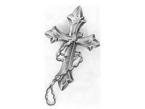 Cross and rosary tattoo design