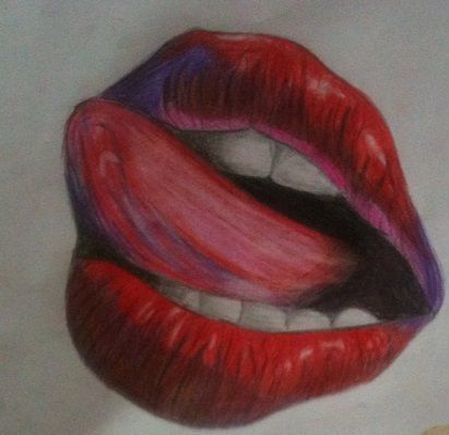 Red lips tattoo design