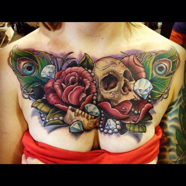 chest tattoo with skull diamonds and roses. Black Bedroom Furniture Sets. Home Design Ideas