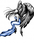 Blue and black angel tattoo