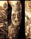 Dog and roses tattoo
