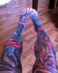 Legs tattoo in colours