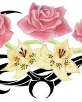 Lilies and roses tattoo design