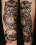 Owl and skull tattoo design