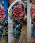 Pink rose and diamond tattoo