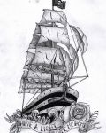 Design with pirates ship