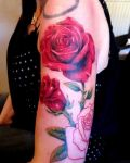 Red roses tattoo for girl