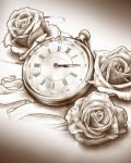 Three roses and clock tattoo design