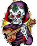 Skeleton with guitar tattoo design