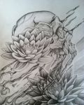 Skull and lotus flowers design