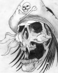 Horrible skull as pirate