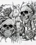 Skulls candles and plants tattoo design