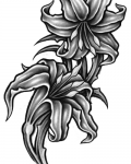 Two lilies tattoo design