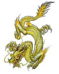 Yellow dragon tattoo design