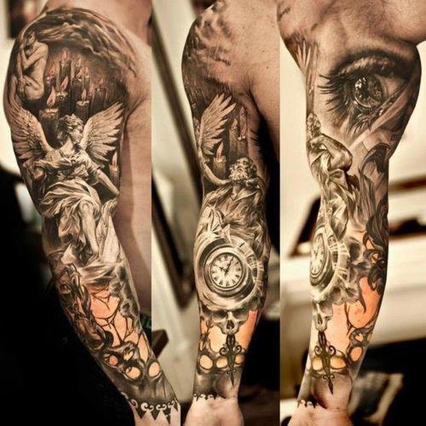 Awesome sleeve tattoo with many motives