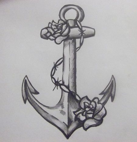 Anchor and two roses tattoo design