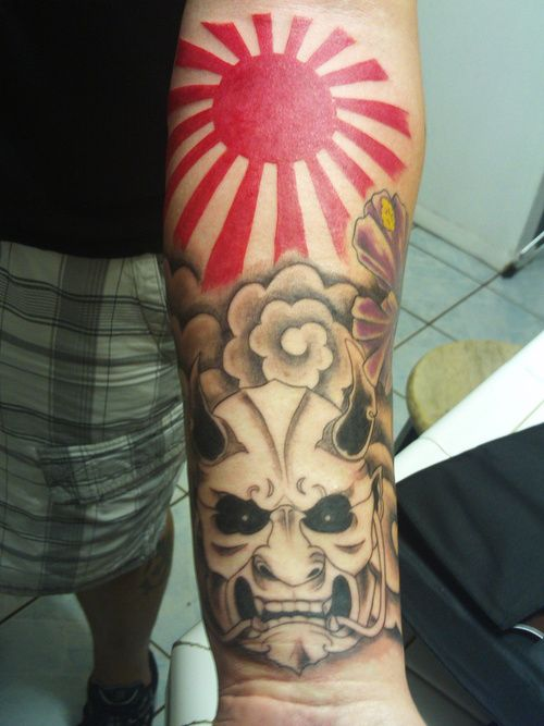 Arm tattoo with devil and sun