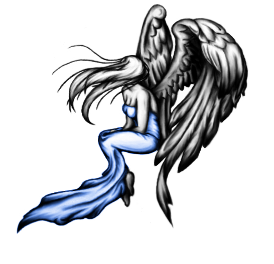 Blue and black angel tattoo