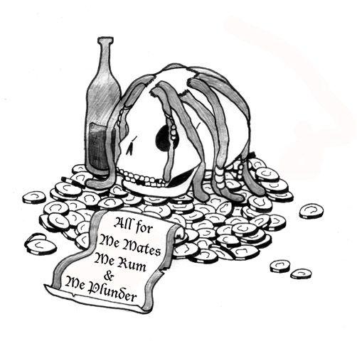Bottle, skull and money