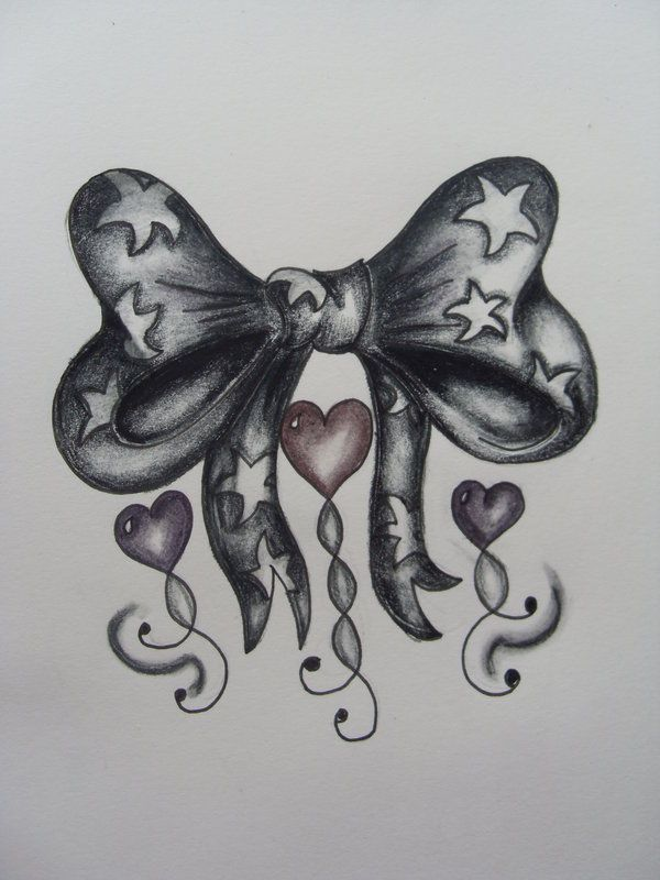 Bow with stars and heart tattoo design