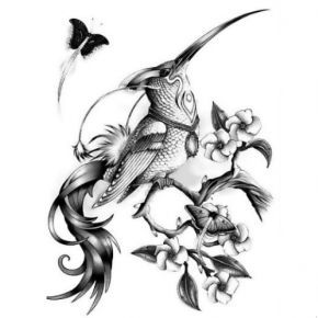 Birds butterfly and flowers tattoo design