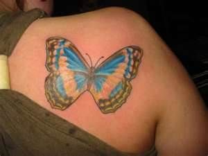Colourful butterfly on the shoulder