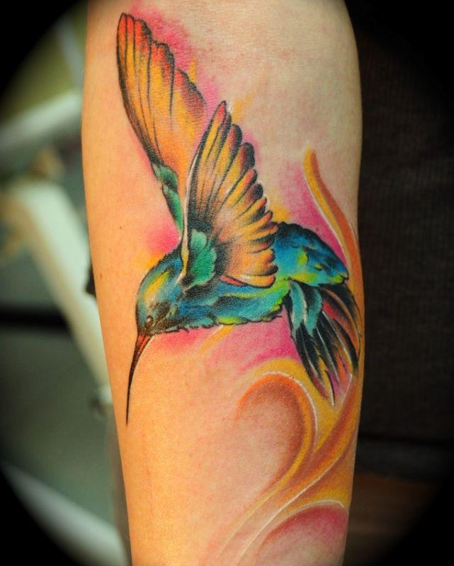 Colourful hummingbird tattoo