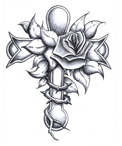 Cross with roses and thorns