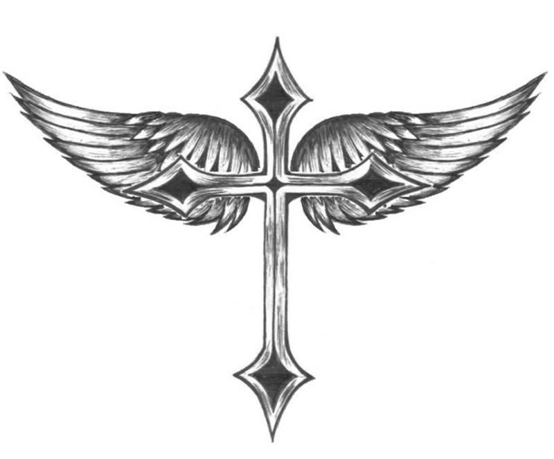 Fantastic cross design with wings