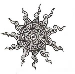 Decorative sun tattoo design
