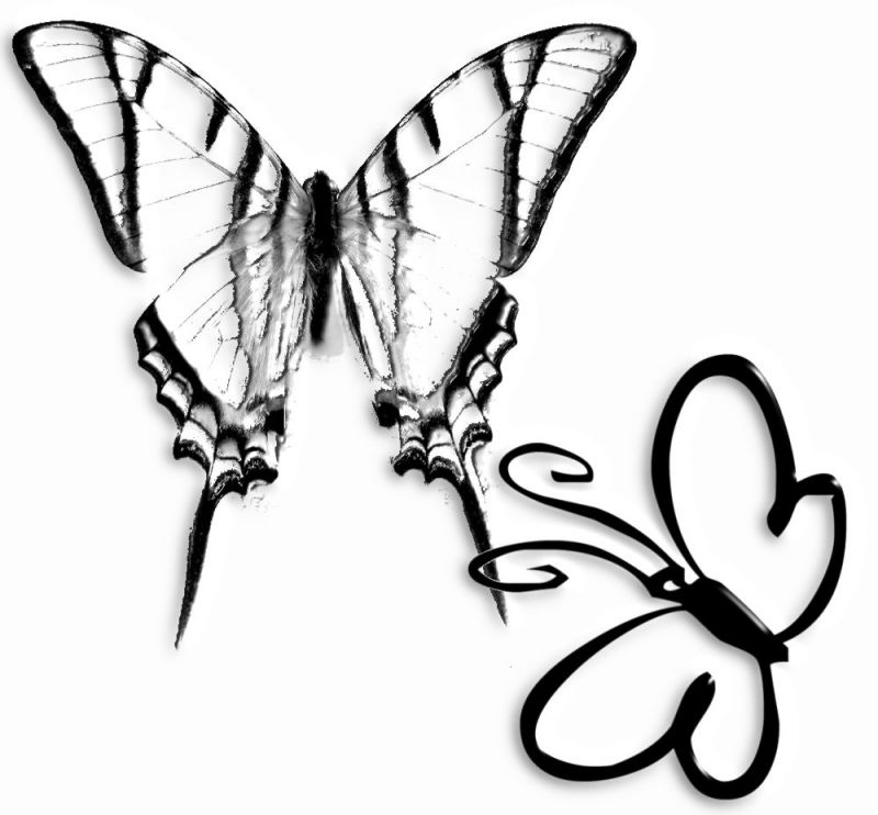 Tattoo design with two butterlfies