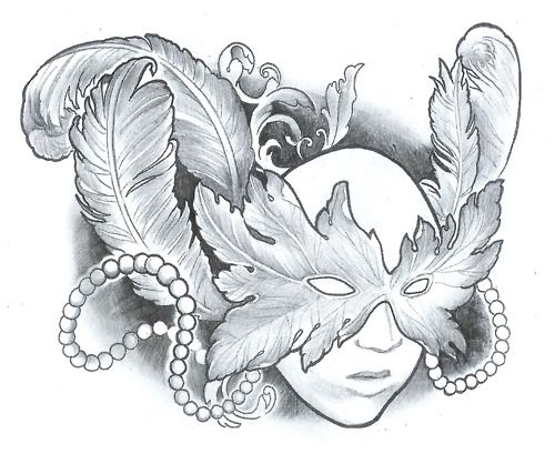 Face with mask tattoo design