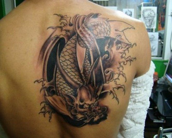 Fish dragon tattoo