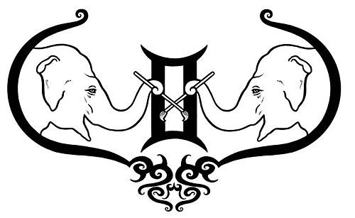 Gemini Symbol With Elephants
