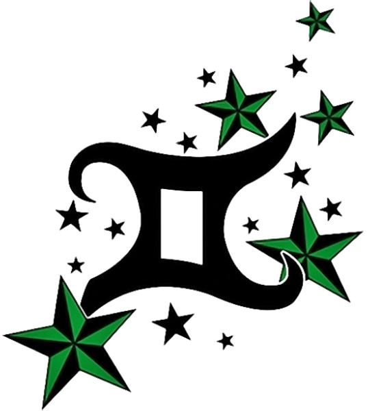gemini sign with green stars. Black Bedroom Furniture Sets. Home Design Ideas