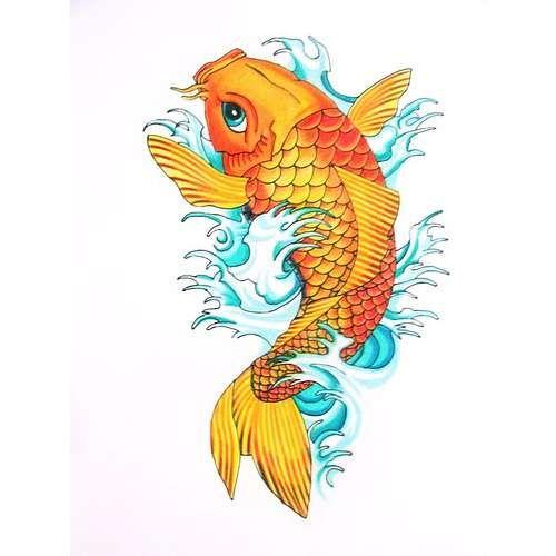 gold koi fish tattoo design. Black Bedroom Furniture Sets. Home Design Ideas