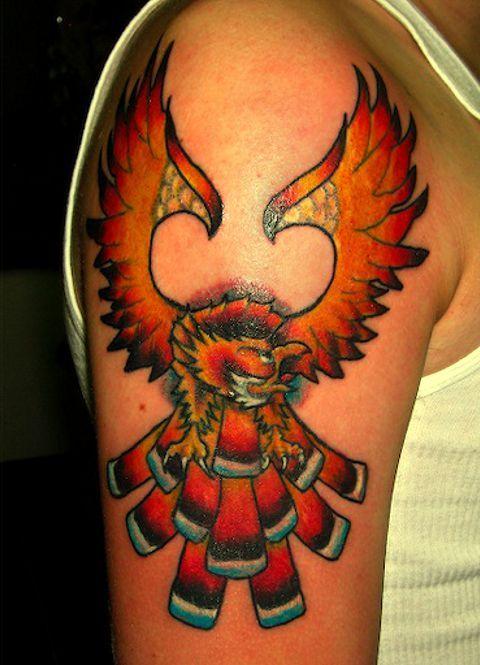 Bird tattoo orange plumage