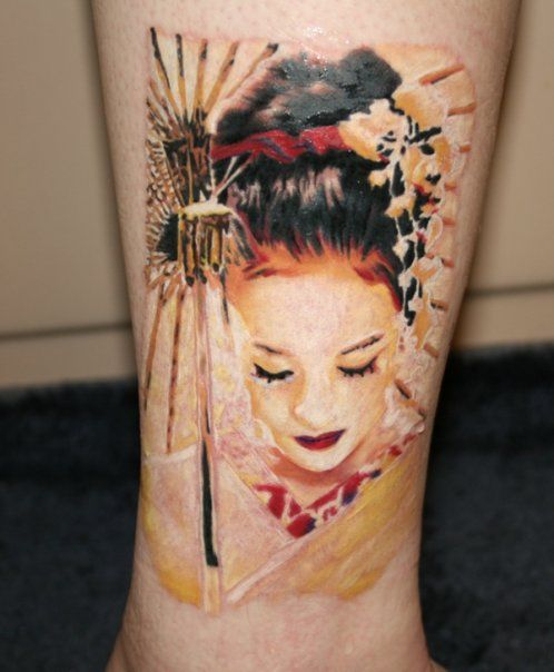 Japanese woman face tattoo for Asian face tattoos