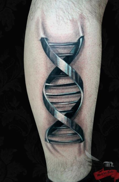 Metal coil tattoo on calf