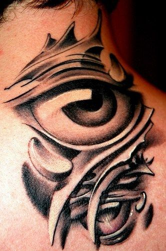 Neck tattoo with eye