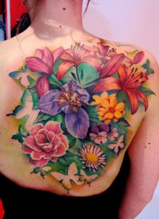 Colourfull flowers tattoo back