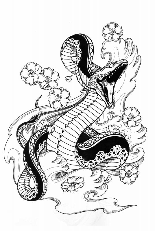 Roses And Butterflies Drawings Oriental snake tattoo ...