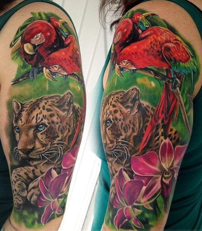 Parrot and tiger among flowers