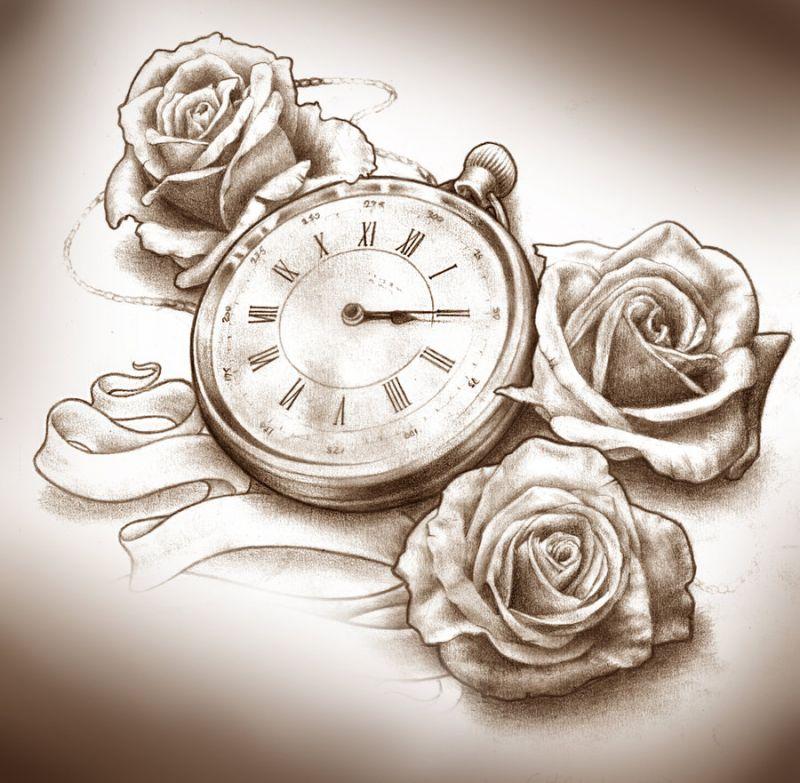 Three Roses And Clock Tattoo Design