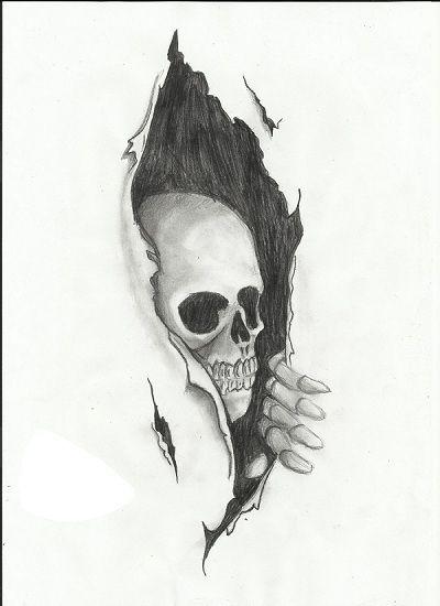 Skull under the skin tattoo design