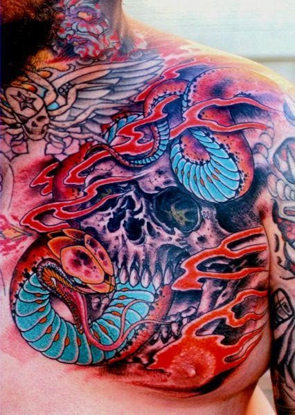 Snake and skull tattoo