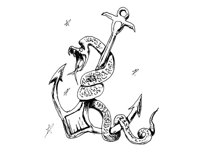 Snake on anchor as tattoo design