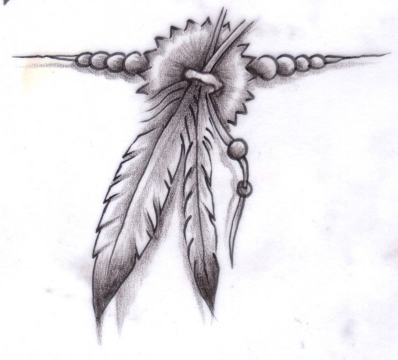 Tattoo design with two plume