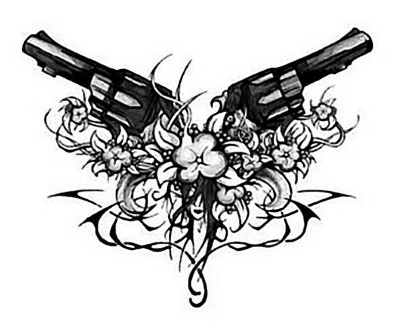 tribal tattoo design wth gun and flowers. Black Bedroom Furniture Sets. Home Design Ideas