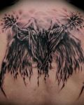 Angel with big wings tattoo